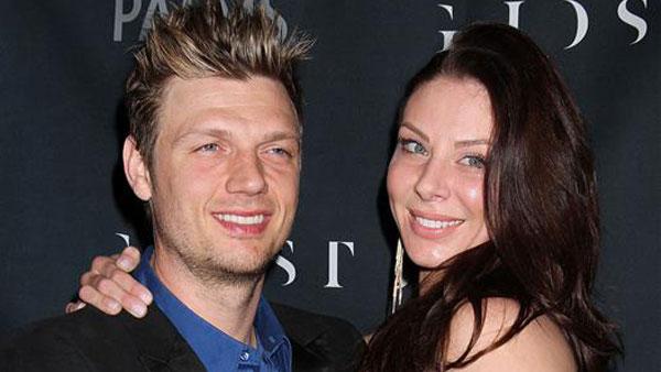 Nick Carter and Lauren Kitt appear at Ghostbar at the Palms Las Vegas Nevada on Feb - 140208-img-startraks-nick-carter-lauren-kitt-600