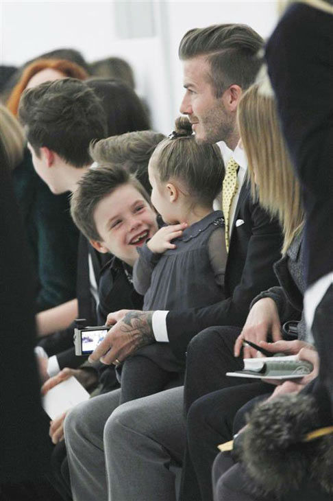 "<div class=""meta ""><span class=""caption-text "">David Beckham appears with daughter Harper and sons Brooklyn, Romeo and Cruz at Victoria Beckham's show during 2014 New York F/W Mercedes-Benz Fashion Week on Feb. 9, 2014. (Gerardo Somoza/startraksphoto.com)</span></div>"