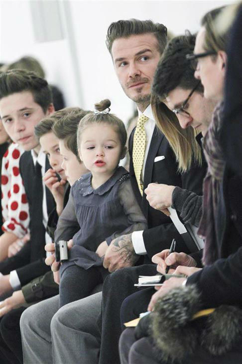 David Beckham appears with daughter Harper and sons Brooklyn, Romeo and Cruz at Victoria Beckham&#39;s show during 2014 New York F&#47;W Mercedes-Benz Fashion Week on Feb. 9, 2014. <span class=meta>(Gerardo Somoza&#47;startraksphoto.com)</span>