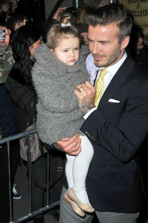 David Beckham and his daughter Daughter Harper appear together during 2014 New York F&#47;W Mercedes-Benz Fashion Week on Feb. 9, 2014.  <span class=meta>(JAVIER MATEO&#47;startraksphoto.com)</span>