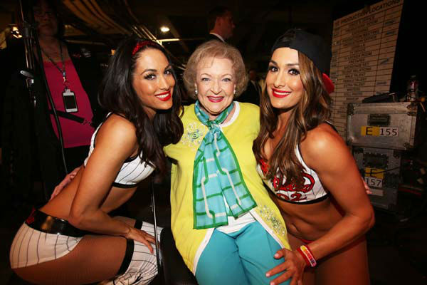 Betty White appears on WWE&#39;s &#39;Monday Night Raw&#39; with the Bella Twins on Feb. 10, 2014. <span class=meta>(WWE)</span>