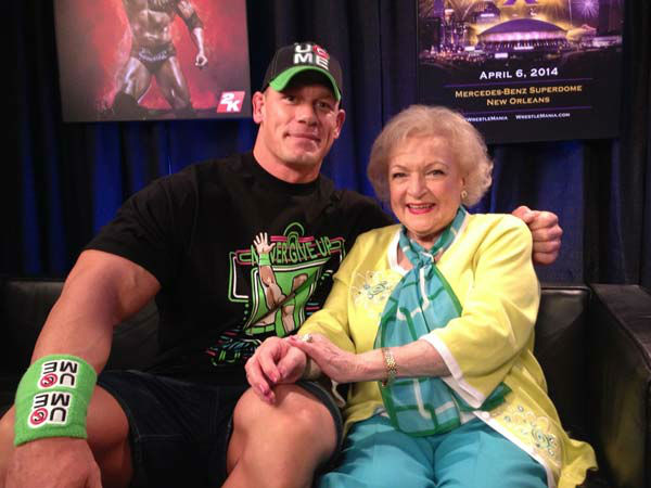Betty White appears on WWE&#39;s &#39;Monday Night Raw&#39; with John Cena on Feb. 10, 2014. <span class=meta>(WWE)</span>