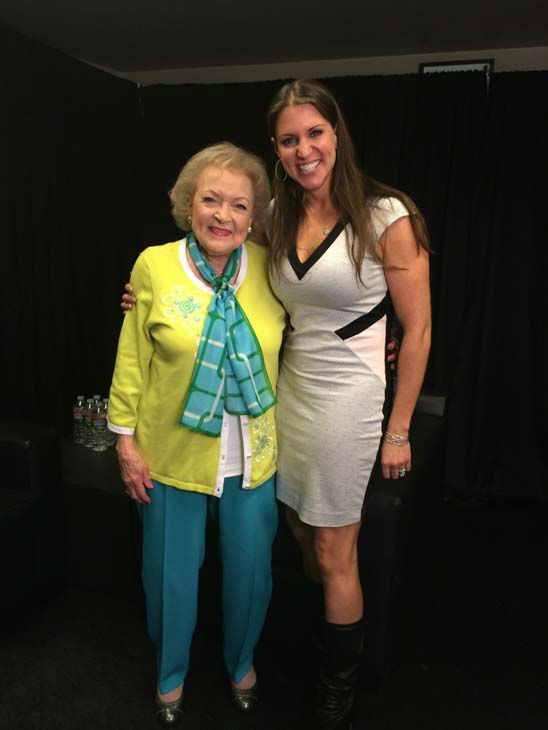 Betty White appears on WWE&#39;s &#39;Monday Night Raw&#39; with Stephanie McMahon on Feb. 10, 2014. <span class=meta>(WWE)</span>