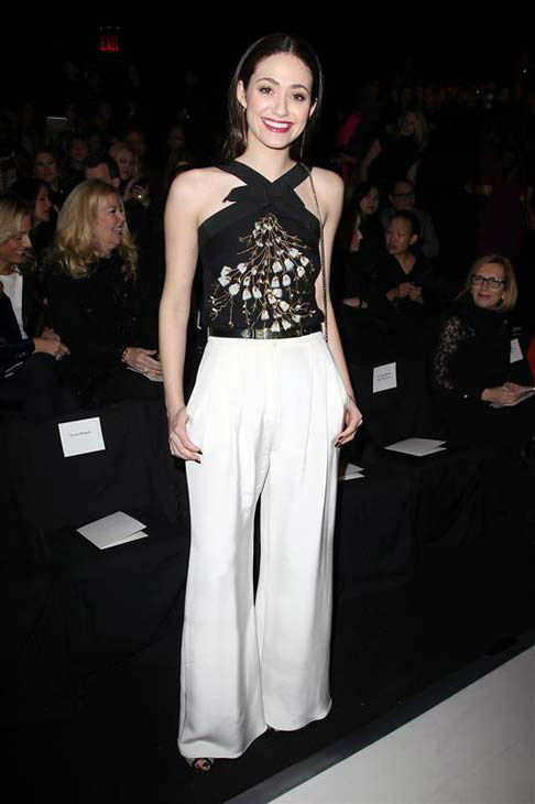 "<div class=""meta ""><span class=""caption-text "">Emmy Rossum appears at the Carolina Herrera show during Fall 2014 Mercedes-Benz Fashion Week in New York City on Feb. 10, 2014.  (Kristina Bumphrey / startraksphoto.com)</span></div>"