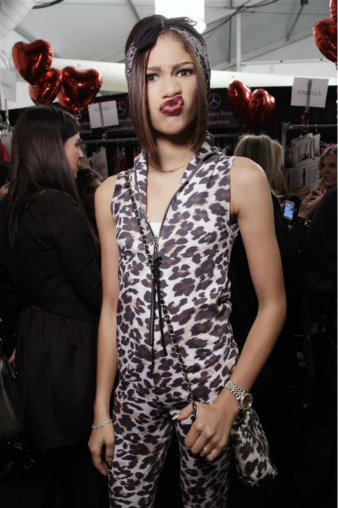Zendaya channels Elvis and remains adorable in a leopard-print catsuit backstage at the Betsey Johnson Fall 2014 show during Mercedes-Benz Fashion Week in New York on Feb. 12, 2012. <span class=meta>(Gerardo Somoza &#47; Startraksphoto.com)</span>