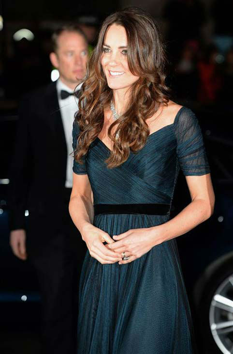 Kate Middleton appears at the 2014 Portrait Gala held at the National Portrait Gallery in London, England on Feb. 11, 2014. The Duchess of Cambridge wore a teal Jenny Packham dress and stunning diamond jewelry.