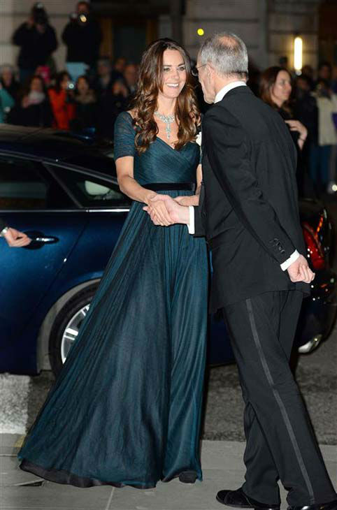 Kate Middleton appears at the 2014 Portrait Gala held at the National Portrait Gallery in London, England on Feb. 11, 2014. The Duchess of Cambridge wore a teal Jenny Packham dress and stunning diamond jewelry. <span class=meta>(Tim Rooke &#47; startraksphoto.com)</span>
