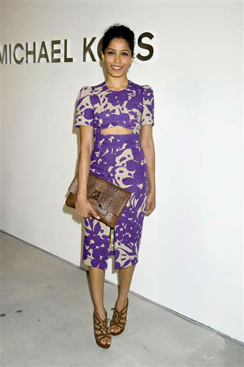"<div class=""meta ""><span class=""caption-text "">Freida Pinto appears at the Michael Kors show during Fall 2014 Mercedes-Benz Fashion Week in New York City on Feb. 12, 2014.  (Justin Campbell / startraksphoto.com)</span></div>"