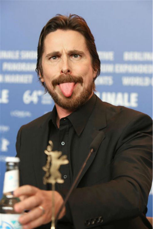 We want to hang out with Christian Bale solely because of this photo. Here he is at a press conference for &#39;American Hustle&#39; in Berlin, Germany, on Feb. 7, 2014. <span class=meta>(Hubert Boesl &#47; Startraksphoto.com)</span>