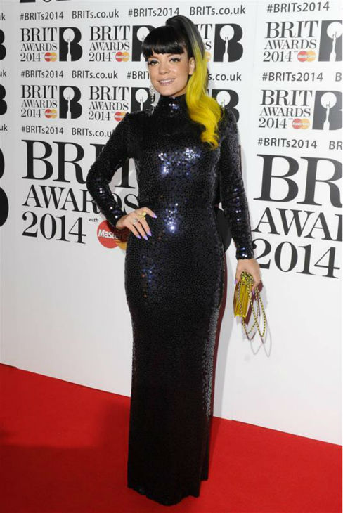 "<div class=""meta ""><span class=""caption-text "">British pop singer Lily Allen appears at the 2014 BRIT Awards in London on Feb. 19, 2014. (Richard Young / REX / Startraksphoto.com)</span></div>"