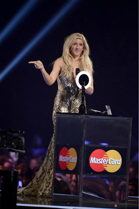 Ellie Goulding appears on stage to accept the award for Best British Female Artist at the 2014 BRIT Awards in London on Feb. 19, 2013. <span class=meta>(Richard Young &#47; REX &#47; Startraksphoto.com)</span>