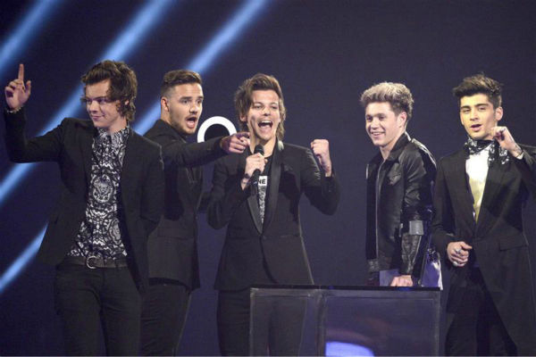 One Direction appears on stage at the 2014 BRIT Awards in London on Feb. 19, 2014. The pop group received the awards for Best Video and Global Success. <span class=meta>(Richard Young &#47; REX &#47; Startraksphoto.com)</span>