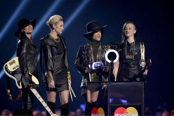 Prince appears on stage at the 2014 BRIT Awards in London on Feb. 19, 2014. He and his band 3RDEYEGIRL presented the award for Best British Female Artist to singer Ellie Goulding. <span class=meta>(Richard Young &#47; REX &#47; Startraksphoto.com)</span>