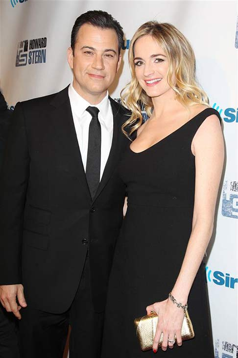 Jimmy Kimmel and wife Molly McNearney appear at Howard Stern's birthday party in New York City on Jan. 31, 2014.