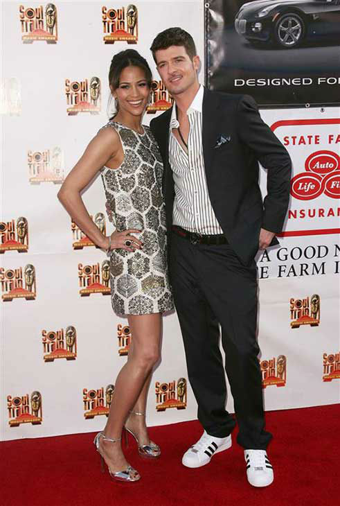 Robin Thicke and Paula Patton appear at the 21st annual Soul Train Awards in Los Angeles, California on March 10, 2007.  <span class=meta>(Andy Fossum &#47; startraksphoto.com)</span>