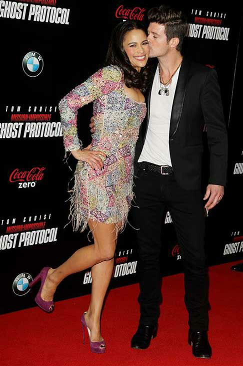 Robin Thicke and Paula Patton appear at the premiere of &#39;Mission: Impossible -- Ghost Protocol&#39; in New York City on Dec. 19, 2011.  <span class=meta>(Amanda Schwab &#47; startraksphoto.com)</span>