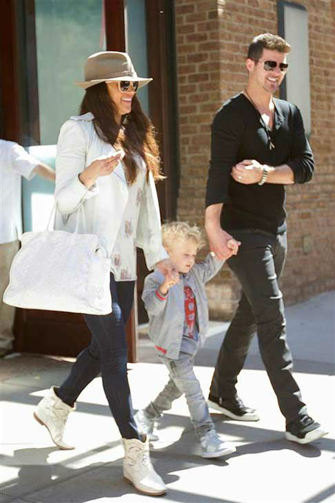 Robin Thicke and Paula Patton appear with their son Julian in New York City on Sept. 17, 2013.  <span class=meta>(Freddie Baez &#47; startraksphoto.com)</span>