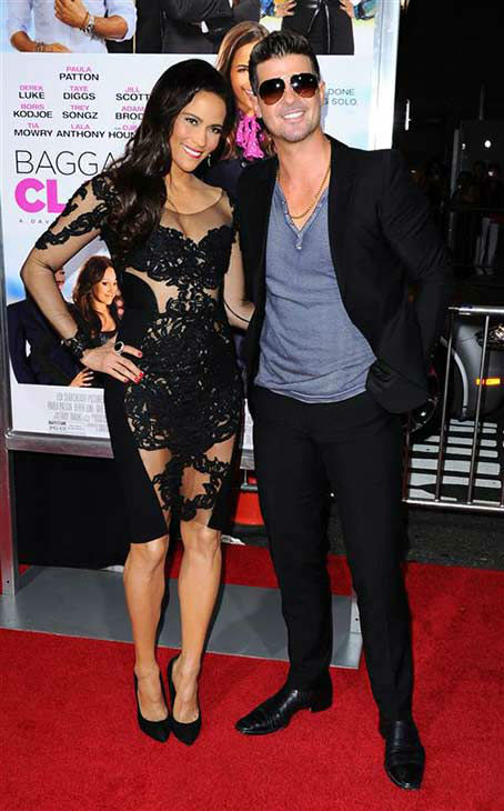 Robin Thicke and Paula Patton appear at the &#39;Baggage Claim&#39; premiere in Los Angeles, California on Sept. 25, 2013.  <span class=meta>(Sara De Boer &#47; startraksphoto.com)</span>