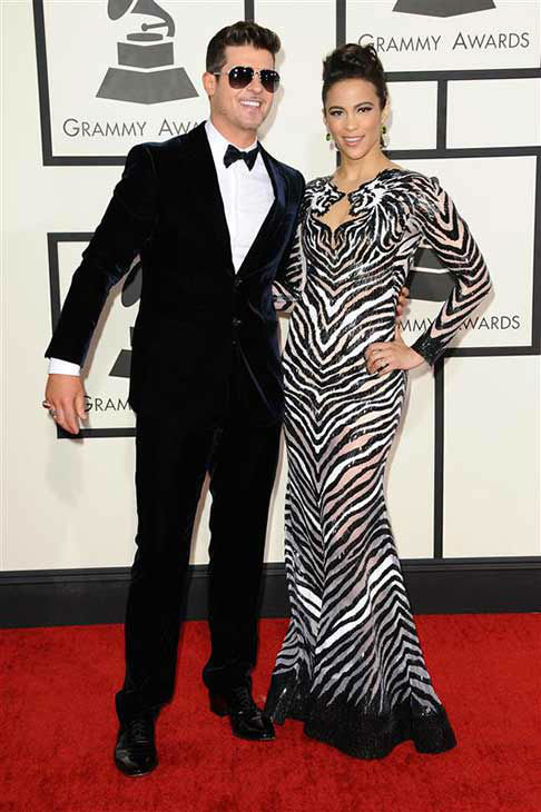 Robin Thicke and Paula Patton appear at the 56th annual Grammy Awards in Los Angeles, California on Jan. 26, 2014.  <span class=meta>(Kyle Rover &#47; startraksphoto.com)</span>