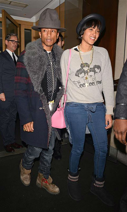 Pharrell Williams and wife Helen Lasichanh appear in London on Feb. 5, 2014. <span class=meta>(Photofab&#47;Rex&#47;startraksphoto.com)</span>