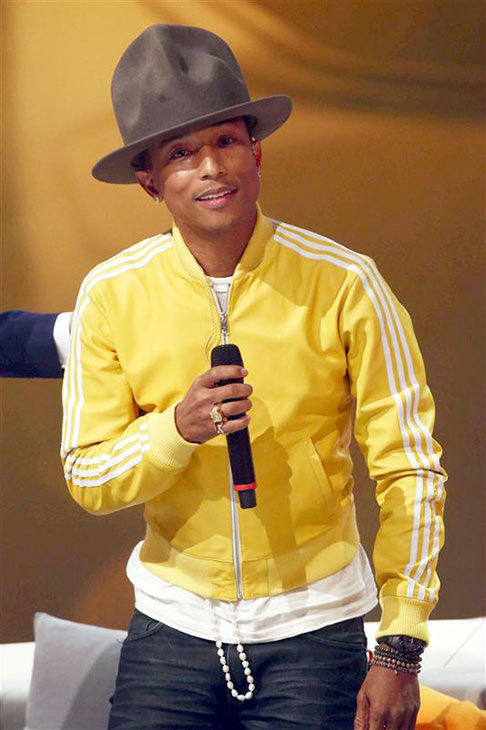 Hilary Swank and Pharrell Williams visit German TV show &#39;Wetten Das&#39; on Feb. 22, 2014. <span class=meta>(Marius Becker&#47;Abaca&#47;startraksphoto.com)</span>