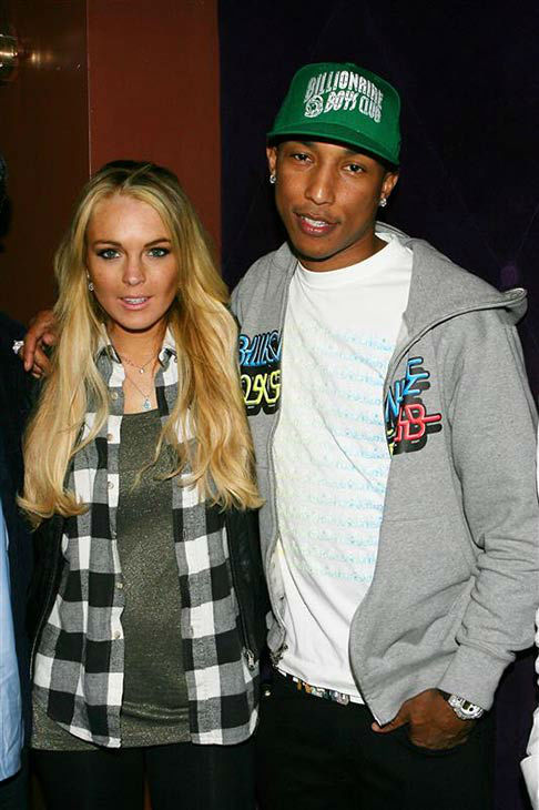 "<div class=""meta ""><span class=""caption-text "">Lindsay Lohan and Pharrell Williams appear on Day 2 of the N.E.R.D. music video shoot for the single 'Everybody Knows' on April 2, 2008. (Dave Allocca/startraksphoto.com)</span></div>"