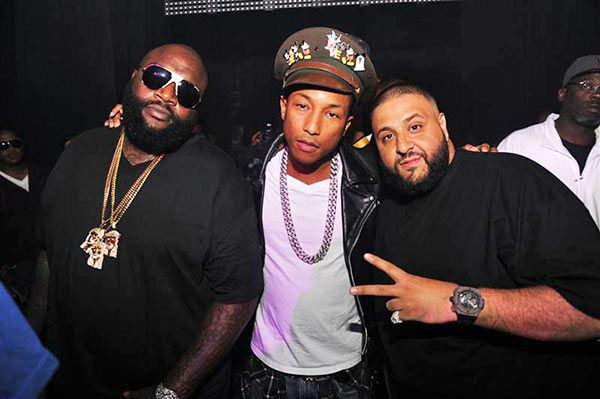 "<div class=""meta ""><span class=""caption-text "">Rick Ross, Pharrell Williams, DJ Khaled appear at DJ Khaled's Birthday on Nov. 25, 2011. (Seth Browarnik/startraksphoto.com)</span></div>"