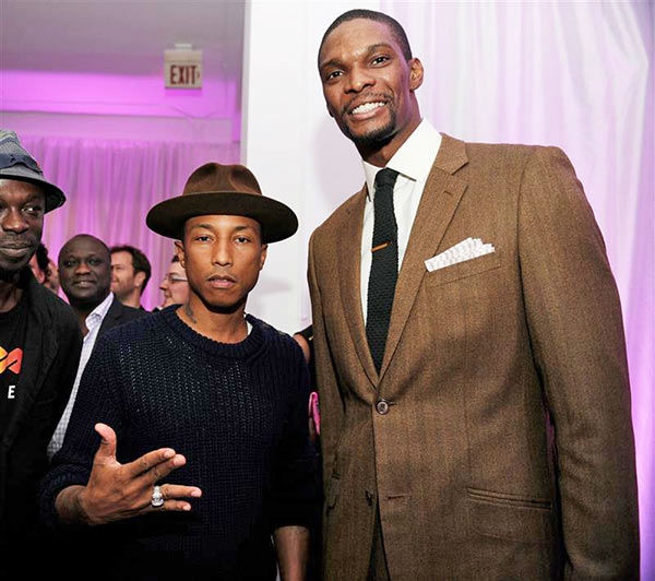 "<div class=""meta ""><span class=""caption-text "">Pharrell Williams and Chris Bosh appear at the 20th Anniversary Year of the Montblanc de la Culture Arts Patronage Awards on Dec. 1, 2011. (Seth Browarnik/startraksphoto.com)</span></div>"