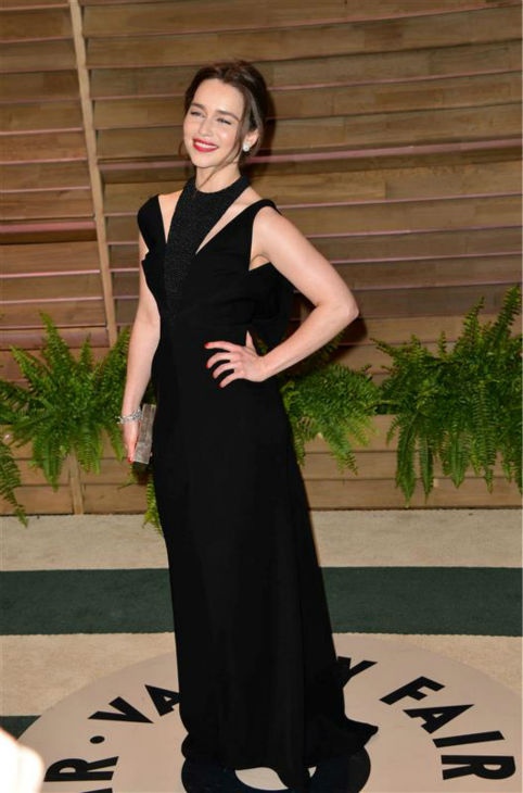 "<div class=""meta ""><span class=""caption-text "">Emilia Clarke (Daenerys Targaryen on 'Game Of Thrones') appears at Vanity Fair's 2014 Oscars after party in Los Angeles on March 2, 2014.  (Tony DiMaio / Startraksphoto.com)</span></div>"