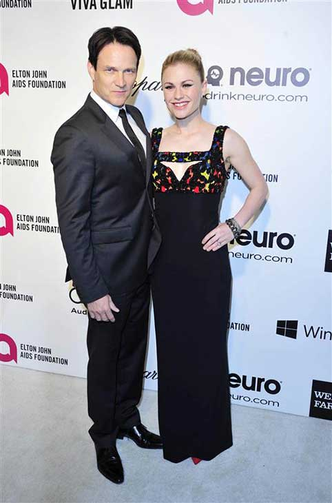 Anna Paquin and Stephen Moyer appear at the 22nd annual Elton John AIDS Foundation&#39;s Oscar viewing party in Los Angeles, California on March 2, 2014. <span class=meta>(Michael Williams &#47; startraksphoto.com)</span>