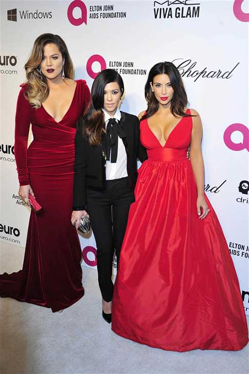 Khloe, Kourtney and Kim Kardashian appear at the 22nd annual Elton John AIDS Foundation&#39;s Oscar viewing party in Los Angeles, California on March 2, 2014. <span class=meta>(Michael Williams &#47; startraksphoto.com)</span>