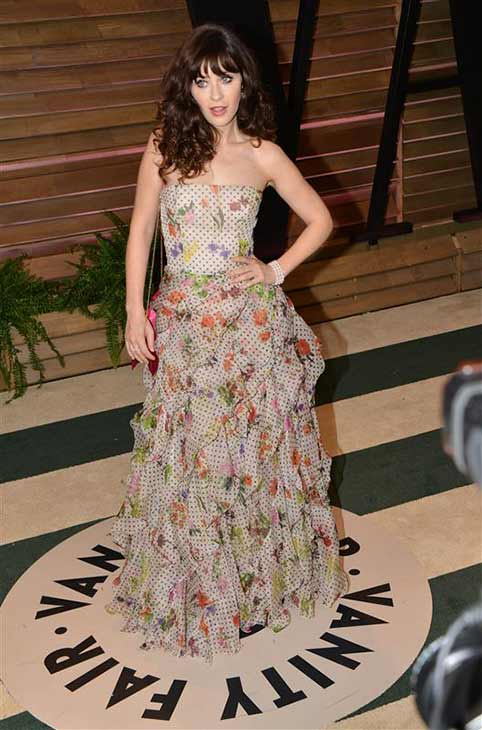 Zooey Deschanel appears at the 2014 Vanity Fair Oscar party in Los Angeles, California on March 2, 2014. <span class=meta>(Tony DiMaio &#47; startraksphoto.com)</span>
