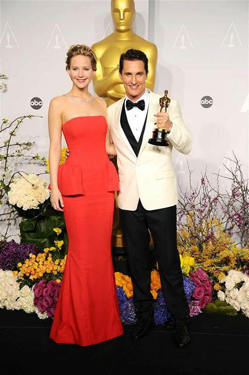 Jennifer Lawrence and Matthew McConaughey appear in the press room at the 2014 Oscars on March 2, 2014. <span class=meta>(Kyle Rover&#47;startraksphoto.com)</span>