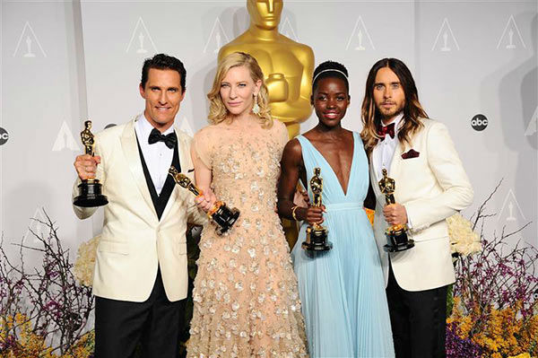 "<div class=""meta image-caption""><div class=""origin-logo origin-image ""><span></span></div><span class=""caption-text"">Matthew McConaughey, Cate Blanchett, Lupita Nyong'o and Jared Leto appear in the press room at the 2014 Oscars on March 2, 2014. (Kyle Rover/startraksphoto.com)</span></div>"