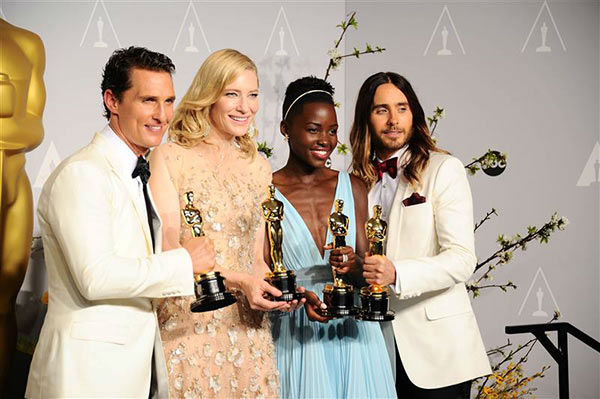 "<div class=""meta ""><span class=""caption-text "">Matthew McConaughey, Cate Blanchett, Lupita Nyong'o and Jared Leto appear in the press room at the 2014 Oscars on March 2, 2014. (Kyle Rover/startraksphoto.com)</span></div>"
