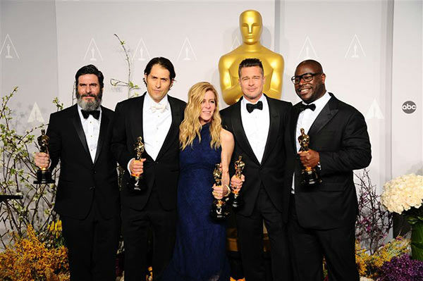 Anthony Katagas, Jeremy Kleiner, Dede Gardner, Steve McQueen and Brad Pitt appear in the press room at the 2014 Oscars on March 2, 2014. <span class=meta>(Kyle Rover&#47;startraksphoto.com)</span>