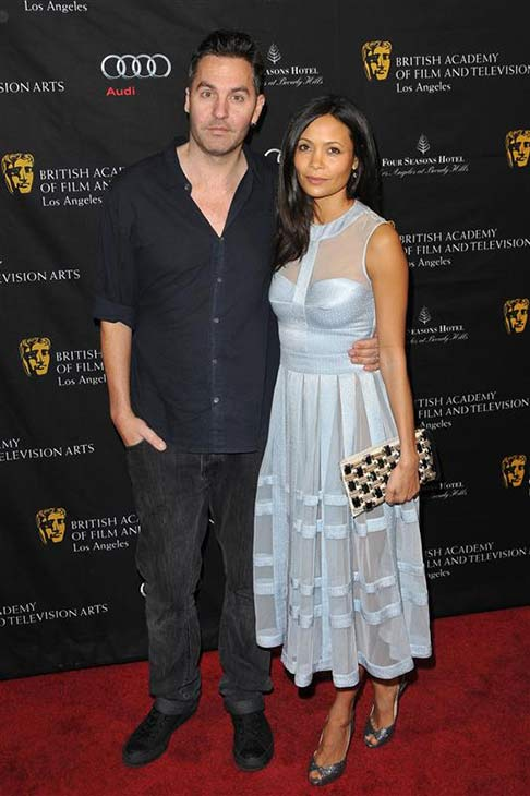 Thandie Newton and husband Ol Parker appear at the 2013 BAFTA Award Season Tea Party in Los Angeles, California on Jan. 12, 2013.