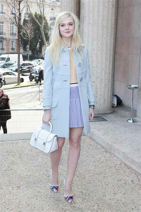 Elle Fanning appears at the Miu Miu show during Fall&#47;Winter 2014 Paris Fashion week on March 5, 2014.  <span class=meta>(Audrey Poree &#47; startraksphoto.com)</span>