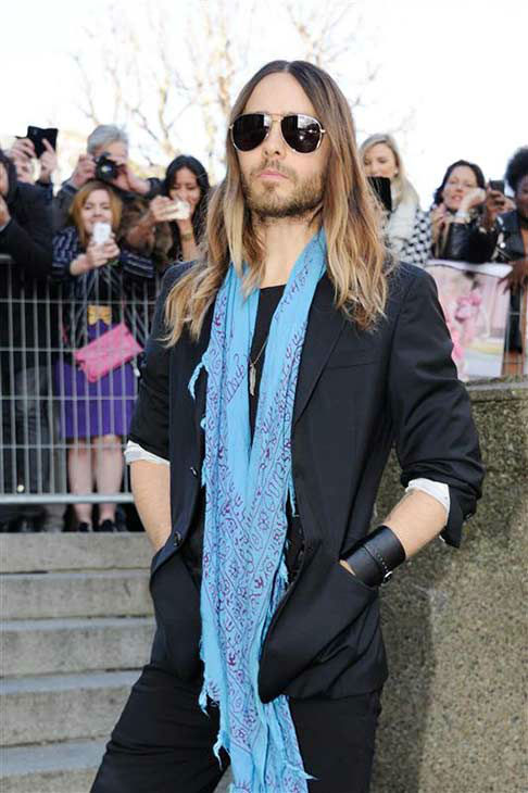 Jared Leto appears at the Miu Miu show during Fall&#47;Winter 2014 Paris Fashion week on March 5, 2014.  <span class=meta>(Alban Wyters &#47; startraksphoto.com)</span>