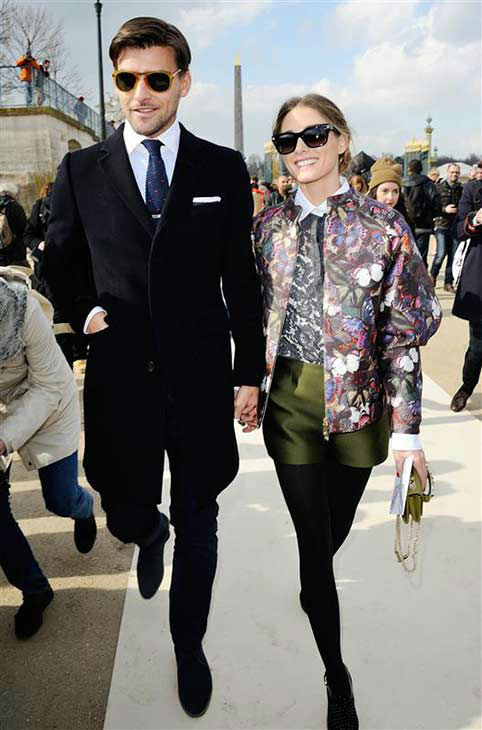 Olivia Palermo &#40;MTV&#39;s &#39;The City&#39;&#41; and fianc&#233; Johannes Huebl appear at the Valentino show during Fall&#47;Winter 2014 Paris Fashion week on March 4, 2014.  <span class=meta>(Aurore Marechal &#47; startraksphoto.com)</span>