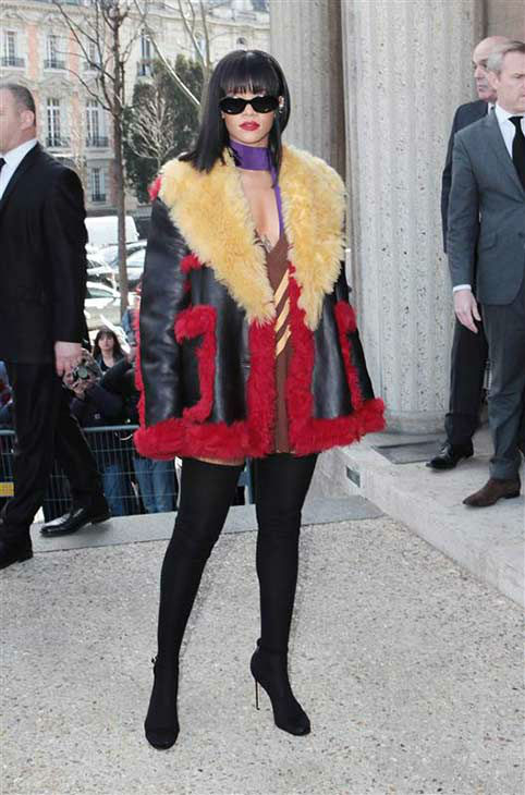 "<div class=""meta ""><span class=""caption-text "">Rihanna appears at the Miu Miu show during Fall/Winter 2014 Paris Fashion week on March 5, 2014.  (Audrey Poree / startraksphoto.com)</span></div>"