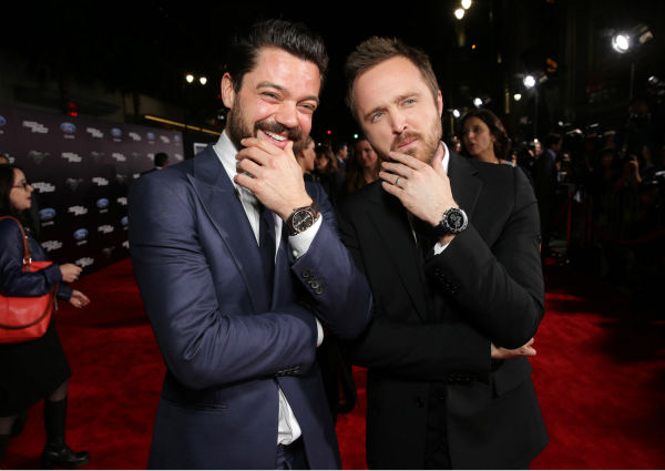 Aaron Paul and co-star Dominic Cooper attend the premiere of DreamWorks Pictures&#39; &#39;Need For Speed&#39; at The TCL Chinese Theatre in Hollywood, California on March 6, 2014. <span class=meta>(Eric Charbonneau &#47; Invision for DreamWorks Pictures &#47; AP Images)</span>