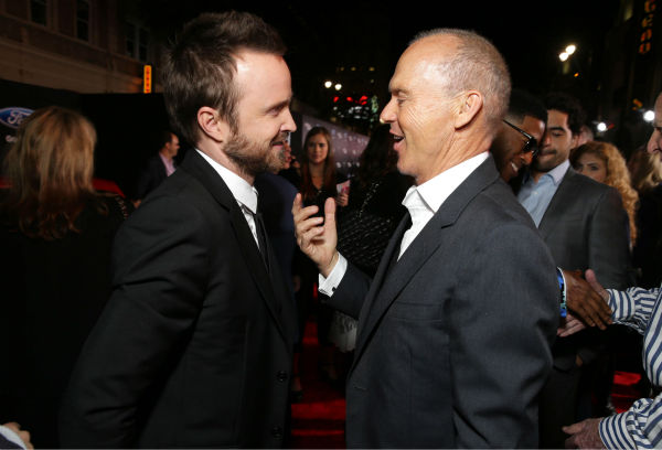 Aaron Paul and co-star Michael Keaton attend the premiere of DreamWorks Pictures&#39; &#39;Need For Speed&#39; at The TCL Chinese Theatre in Hollywood, California on March 6, 2014. <span class=meta>(Eric Charbonneau &#47; Invision for DreamWorks Pictures &#47; AP Images)</span>