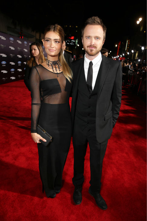 Aaron Paul and wife Lauren Parsekian attend the premiere of DreamWorks Pictures&#39; &#39;Need For Speed&#39; at The TCL Chinese Theatre in Hollywood, California on March 6, 2014. <span class=meta>(Eric Charbonneau &#47; Invision for DreamWorks Pictures &#47; AP Images)</span>