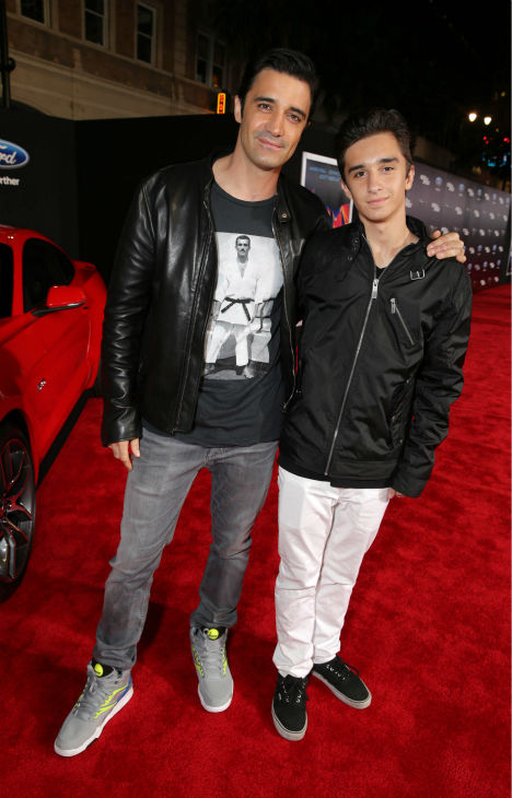 Gilles Marini and son Georges Marini attend the premiere of DreamWorks Pictures' 'Need For Speed' at The TCL Chinese Theatre in Hollywood, California on March 6, 2014.