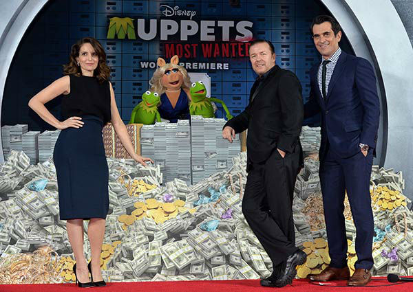 Tina Fey, Constantine, Miss Piggy, Kermit the Frog and actors Ricky Gervais and Ty Burrell arrive at the world premiere of Disney&#39;s &#39;Muppets Most Wanted&#39; at the El Capitan Theatre on March 11, 2014 in Hollywood, California. <span class=meta>(Alberto E. Rodriguez&#47;Getty Images for Disney)</span>