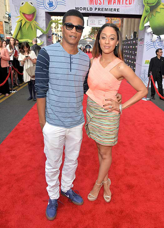 Cory Hardrict &#40;L&#41; and Tia Mowry arrive at the world premiere of Disney&#39;s &#39;Muppets Most Wanted&#39; at the El Capitan Theatre on March 11, 2014 in Hollywood, California. <span class=meta>(Alberto E. Rodriguez&#47;Getty Images for Disney)</span>