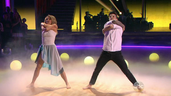 "<div class=""meta ""><span class=""caption-text "">Candace Cameron Bure and Mark Ballas perform a Contemporary routine on week one of 'Dancing With The Stars' on March 17, 2014. They received 25 out of 30 points from the judges. (ABC Photo)</span></div>"