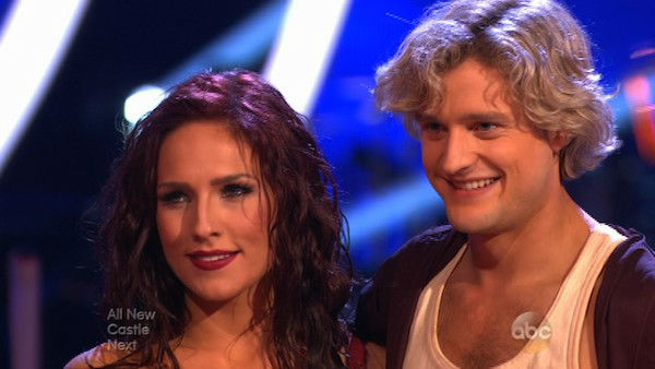 "<div class=""meta ""><span class=""caption-text "">Charlie White and Sharna Burgess performed a Contemporary routine on week one of 'Dancing With The Stars' on March 17, 2014. They received 27 out of 30 points from the judges. (ABC Photo)</span></div>"