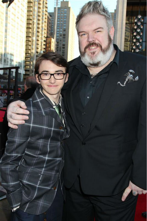 &#39;Game of Thrones&#39; stars Isaac Hempstead-Wright &#40;Bran Stark&#41; and Kristian Nairn &#40;Hodor&#41; appear at the season 4 premiere of the hit HBO series in New York on March 18, 2014. The show returns on April 6. <span class=meta>(Dave Allocca &#47; Startraksphoto.com)</span>